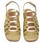 Sandália Rasteira de Laser Metalizado Dourado- 914-04