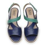 Sandália Salto Baixo Azul Anil e Amazonita - Siena 965-03