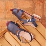 Sandália Salto Baixo Azul Marinho Tranquilidade- 842-05