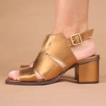 Sandalia Salto Grosso Medio Bronze - Siena - 400-22