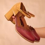 Sapato Boneca Salto Baixo Bordo e Mostarda- 771-02