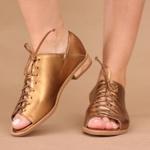 Sapato Peep Toe Baixo Bronze- 842-13