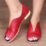 Sandália Salto Baixo Siena Vermelha
