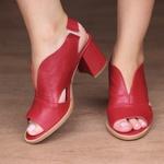 Sandália Salto Grosso Vermelha - Veneza - 177-20