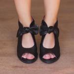 Sandália Salto Grosso Confortável de Laço Preto 177-18