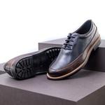 Sapato Casual Masculino Oxford Mood Sidetrack Marinho e Café