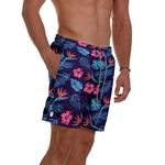Short Praia Masculino Floral Tropical Clássico Use Thuco Azul