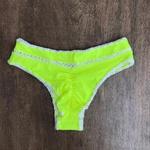 Calcinha de Biquíni Plus Size Boho Beach Fechada Amarelo Neon