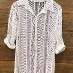 Camisa De Praia Plus Size Renda Off White