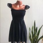 Vestido Ciganinha Curto Canelado Preto
