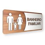 Placa De Sinalização   Banheiro Familiar - MDF 30x13cm