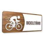 Placa De Sinalização | Bicicletário - MDF 30x13cm