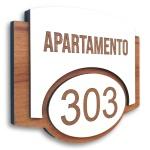 Placa Número do Apartamento - MDF 10x10cm