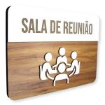 Placa De Sinalização | Sala de Reunião - MDF 30x21cm