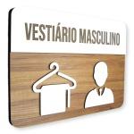 Placa De Sinalização | Vestiário Masculino - MDF 30x21cm