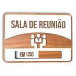 Placa De Sinalização | Reunião - MDF 30x21cm