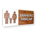 OUTLET - Placa De Sinalização | Banheiro Familiar - MDF 30x13cm