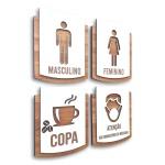 Kit Placa De Sinalização | Ele - Ela - Copa - Máscara