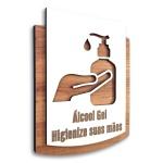 Placa De Sinalização | Uso de Gel - MDF 15x13cm