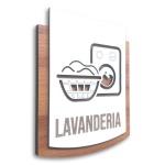 Placa De Sinalização | Lavanderia - MDF 15x13cm