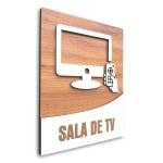 Placa De Sinalização | Sala de TV - MDF 18x14cm