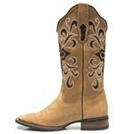 Bota Texana Feminina - Fóssil Caramelo / Bucho Preto com Glitter Prata - Roper - Bico Quadrado - Cano Longo - Solado Nevada - Vimar Boots - 13056-A-VR