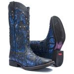 Bota Texana Feminina - Fóssil Preto / Craquelê Azul - Roper - Bico Quadrado - Cano Longo - Solado Freedom Flex - Vimar Boots - 13089-G-VR