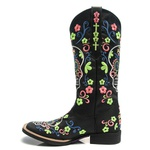 Bota Texana Feminina - Fóssil Preto - Roper - Bico Quadrado - Cano Longo - Solado Freedom Flex - Vimar Boots - 13093-B-VR