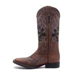 Bota Texana Feminina - Dallas Taupe / Craquelê Preto - Roper - Bico Quadrado - Cano Longo - Solado Freedom Flex - Vimar Boots - 13109-A-VR