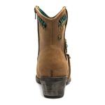 Bota Casual Feminina - Dallas Taupe / Turquesa / Café - Bico Redondo - Cano Curto - Solado Country Rústica - Pele Nativa - 41001-A-PN