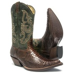 Bota Texana Masculina - Python Original Tabaco / Verde - Western - Bico Fino - Cano Médio - Solado Couro - West Country - 20551-A-WC