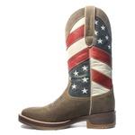 Bota Texana Masculina - Dallas Brown / Bandeira EUA - Roper - Bico Quadrado - Cano Longo - Solado Strong Shock - Vimar Boots - 80055-A-VR