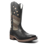 Bota Texana Masculina - Floather Preto / Bandeira EUA - Roper - Bico Quadrado - Cano Longo - Solado Strong Shock - Vimar Boots - 80055-B-VR