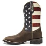 Bota Texana Masculina - Dallas Brown / Bandeira EUA - Roper - Bico Quadrado - Cano Médio - Solado VRX - PalFlex - 81138-A-PF