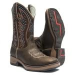 Bota Texana Masculina - Dallas Brown / Castanho - Roper - Bico Quadrado - Cano Médio - Solado Strong Shock - Vimar Boots - 81226-A-VR