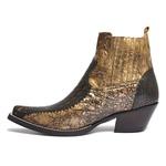 Botina Masculina - Jacaré Bronze / Fóssil Flex Ouro Light- Western - Bico Fino - Cano Curto - Solado Colorplac - Vimar Boots - 82068-A-VR