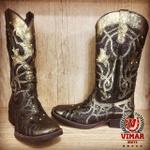 Bota Texana Feminina - Fóssil Flex Ouro Light / Craquelê Preto - Roper - Bico Quadrado - Cano Longo - Solado Freedom Flex - Vimar Boots - 13089-E-VR