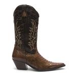 Bota Texana Feminina - Piton Original Tabaco / Café - Western - Bico Fino - Cano Longo - Solado Colorplac - Vimar Boots - 11077-A-VR