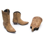 Bota Feminina 2 em 1 - Dallas Bambu - Western - Bico Fino - Cano Curto - Solado Genova - Vimar Boots - 11142-A-VR-PL002