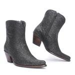 Bota Texana Feminina - Full Glitter Preto - Western - Bico Fino - Cano Curto - Solado Colorplac - Vimar Boots - 11177-B-VR