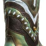 Botina Feminina 2 em 1 - Fóssil Azul Dourado - Roper - Bico Quadrado - Solado VTS - Com Polaina Azul / Café - Vimar Boots - 12173-A-VR-PL001