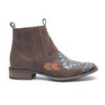 Botina Feminina - Dallas Castor / Celeste - Roper - Bico Quadrado - Solado Nevada - Vimar Boots - 12177-A-VR