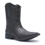 Bota Texana Feminina - Full Glitter Preto - Roper - Bico Quadrado - Cano Medio - Solado Freedom Flex - Vimar Boots - 13083-A-VR