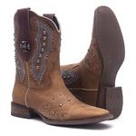 Bota Texana Feminina - Fóssil Caramelo / Dallas Bordô - Roper - Bico Quadrado - Cano Curto - Solado Nevada - Vimar Boots - 13091-A-VR