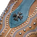 Bota Texana Feminina - Fóssil Caramelo / Dallas Celeste - Roper - Bico Quadrado - Cano Curto - Solado Freedom Flex - Vimar Boots - 13091-B-VR