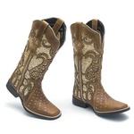 Bota Texana Feminina - Dallas Bambu / Glitter Max Ouro - Roper - Bico Quadrado - Cano Longo - Solado Freedom Flex - Vimar Boots - 13102-B-VR