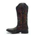 Bota Franciane Andrade - Texana Feminina - Fóssil Preto / Vinho - Roper - Bico Quadrado - Cano Longo - Solado Freedom Flex - Vimar Boots - 13102-C-VR