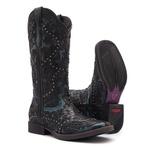 Bota Texana Feminina - Mustang Preto / Dallas Celeste - Roper - Bico Quadrado - Cano Longo - Solado Freedom Flex - Vimar Boots - 13103-C-VR