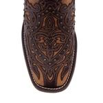 Bota Texana Feminina - Mustang Café / Fóssil Caramelo - Roper - Bico Quadrado - Cano Longo - Solado Nevada - Vimar Boots - 13103-D-VR