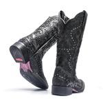 Bota Texana Feminina - Mustang Preto / Fóssil Preto - Roper - Bico Quadrado - Cano Longo - Solado Freedom Flex - Vimar Boots - 13103-E-VR